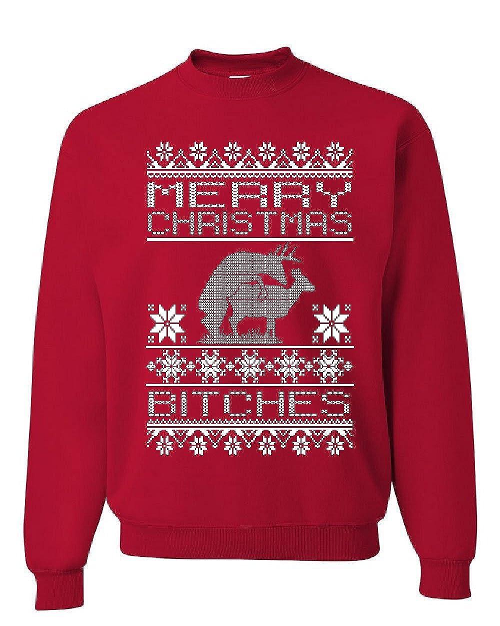 Merry Christmas Bitches Sweatshirt Deer Humping Ugly Sweatshirt 100259-CS