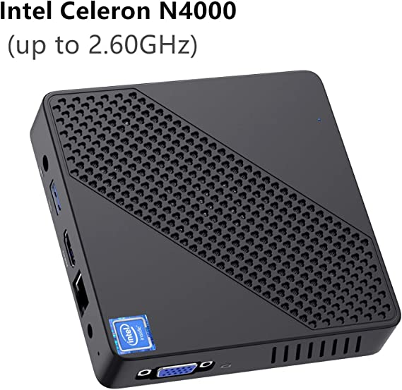 Mini PC Fanless Intel Celeron N4000 (up to 2.6GHz) 4GB DDR/64GB eMMC Mini Desktop Computer Windows 10 Pro HDMI 2.0and VGA Port 2.4/5.8G WiFi BT4.2 3xUSB3.0 Support Linux