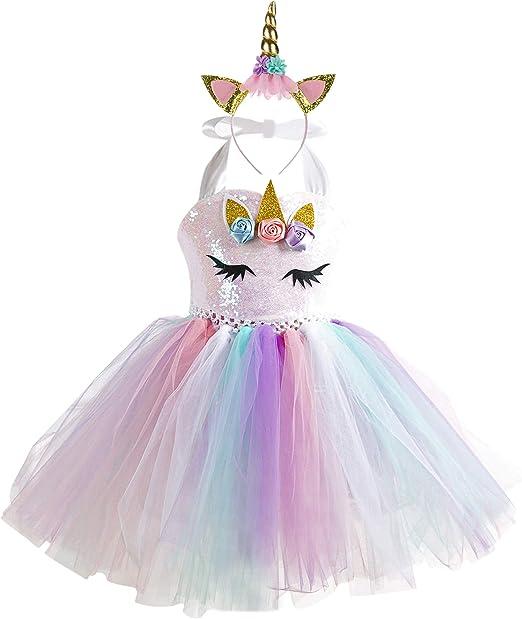 DJSJ- Vestido de Bautizo Fiesta Niña Disfraz de Unicornio Princesa ...