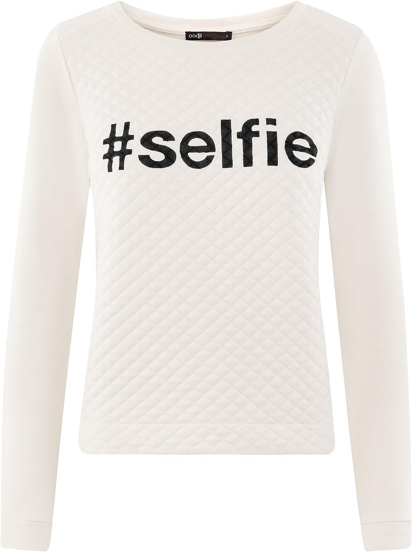 oodji Ultra Damen Sweatshirt aus Strukturiertem Stoff mit Schriftzug