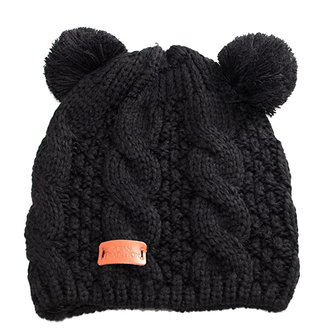 Amazon.com  Aran Traditions Black Double Bobble Beanie Hat  Clothing 525a2c28f50