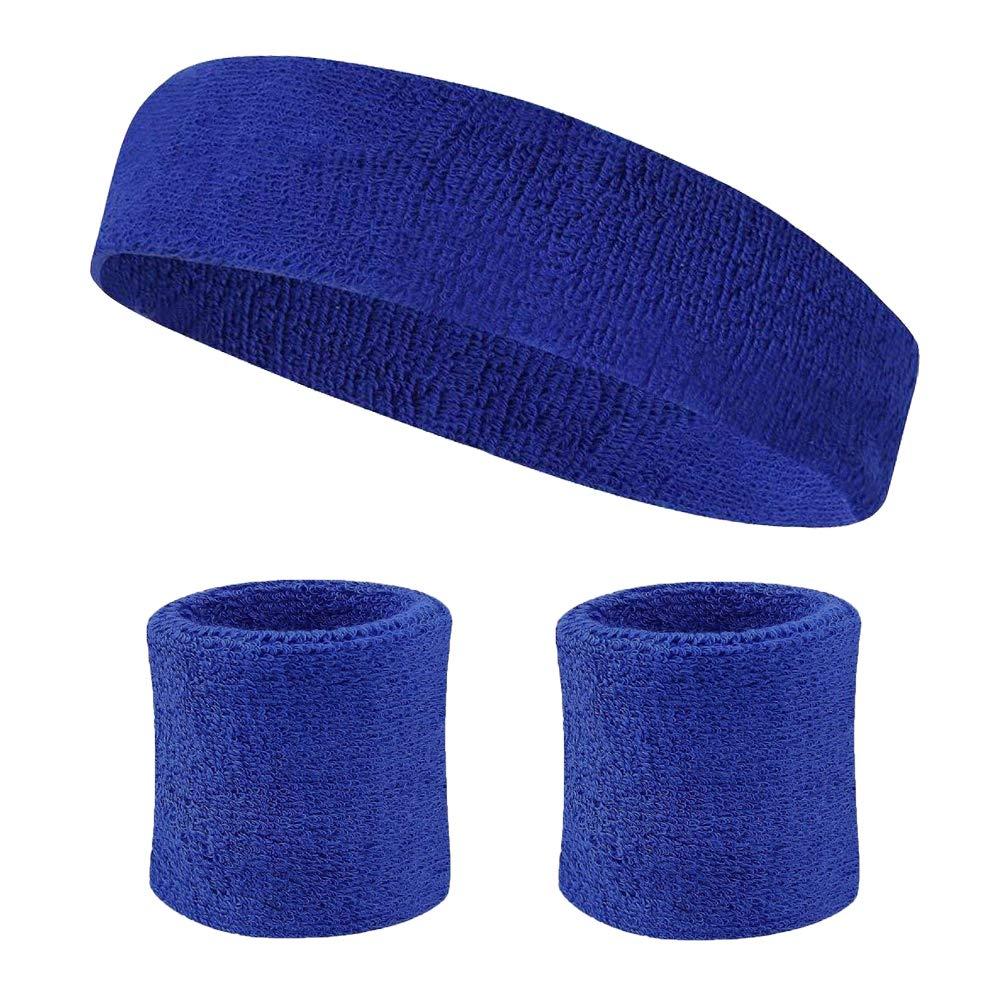 SpringPear 1x Stirnbänder Baumwolle Frottee Schweißband Headschutz für Sportliche Übungen Feuchtigkeitstransport Schweißabsorbierendes Kopfband