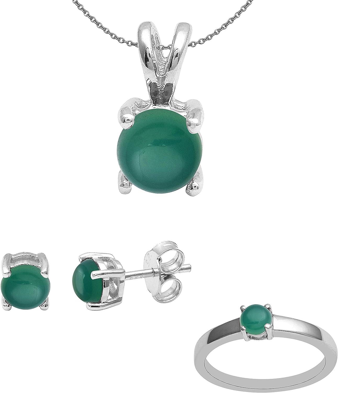 Shine Jewel Anillo de plata esterlina 925 con múltiples piedras preciosas, tachuela, cadena, juego de colgante para mujer