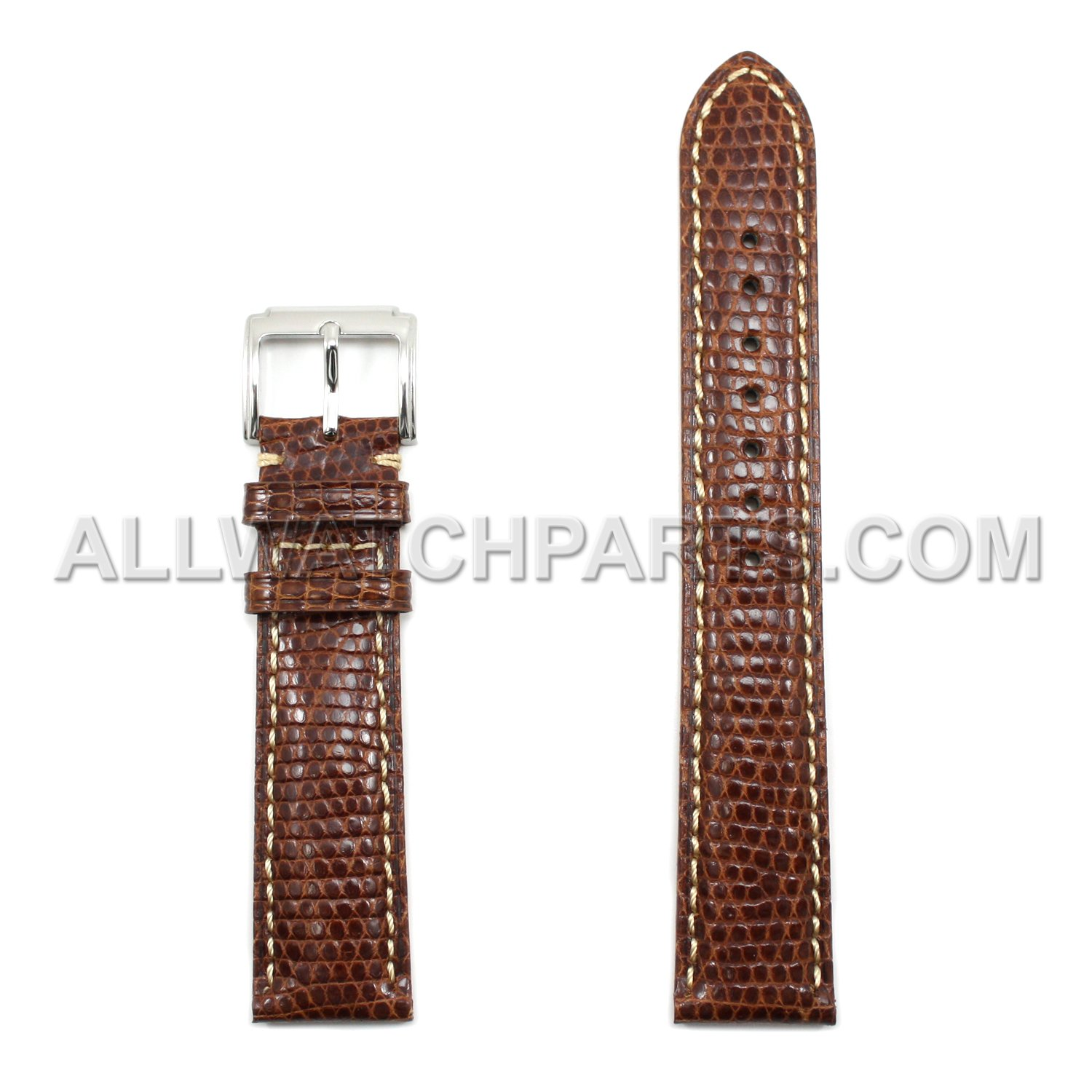 19 mm Brown Genuine Lizard Leather Watch Band withベージュStitches  B075836FQV