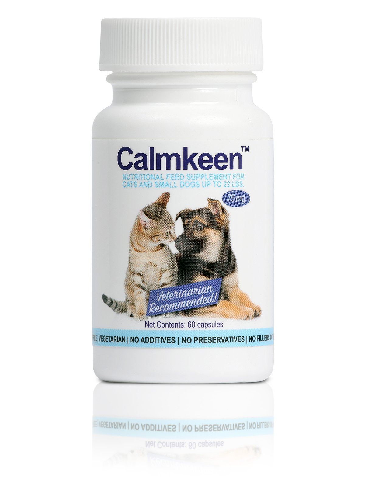 Calmkeen 75 mg 60 Count Nutritional Supplement Small Dogs Cats Up To 22 Pounds (Formerly Calmkene)