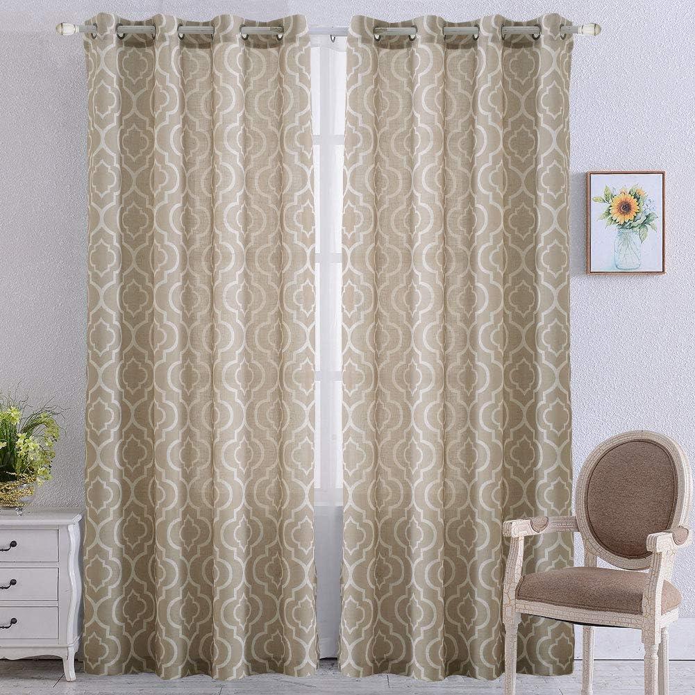 "NANAN Quatrefoil Linen Blend Farmhouse Curtains - Moroccan Tile Pattern Print Curtain Window Curtain Panels for Living Room Geometry Lattice - 52"" W x 84"" L - (Taupe, Set of 2 Panels)"
