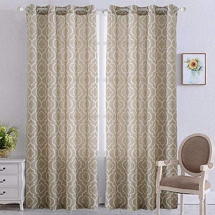 Amazon Com Nanan Moroccan Poly Linen Curtains Lattice Flax Linen