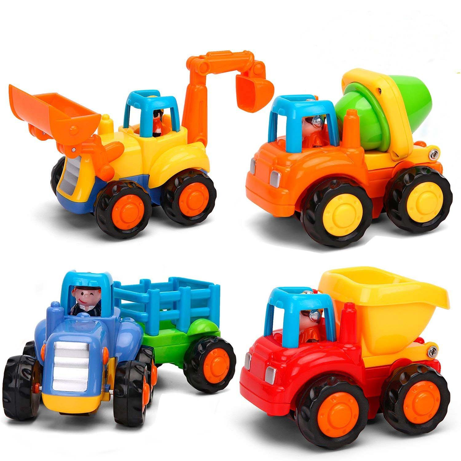 CCLIFE Push and Go Friction Powered Car Toys Early Educational Toddler Baby Toys for 1-3 Year Old Tractor Bulldozer Mixer Truck and Dumper(Set of 4)