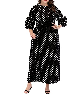 14a77398712 Qianliniuinc Muslim Women Fashion Dot Maxi Dress Plus Size 3 4 Sleeve with  Belt Abaya Dubai Kaftan Islamic Clothing (M-4XL)  Amazon.co.uk  Clothing