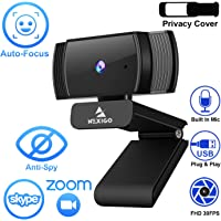 2020 1080p Webcam with Microphone and Privacy Cover, AutoFocus, Noise Reduction, HD USB Web Camera, for Zoom Meeting YouTube Skype FaceTime Hangouts, PC Mac Laptop Desktop