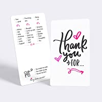 """Tiny Love Cards - Set of 85 Mini""""Thank You for."""" Appreciation, Gratitude, Encouragement Small Note Card - for Bridal, Baby Showers, Graduation, Weddings, Birthday, Office"""