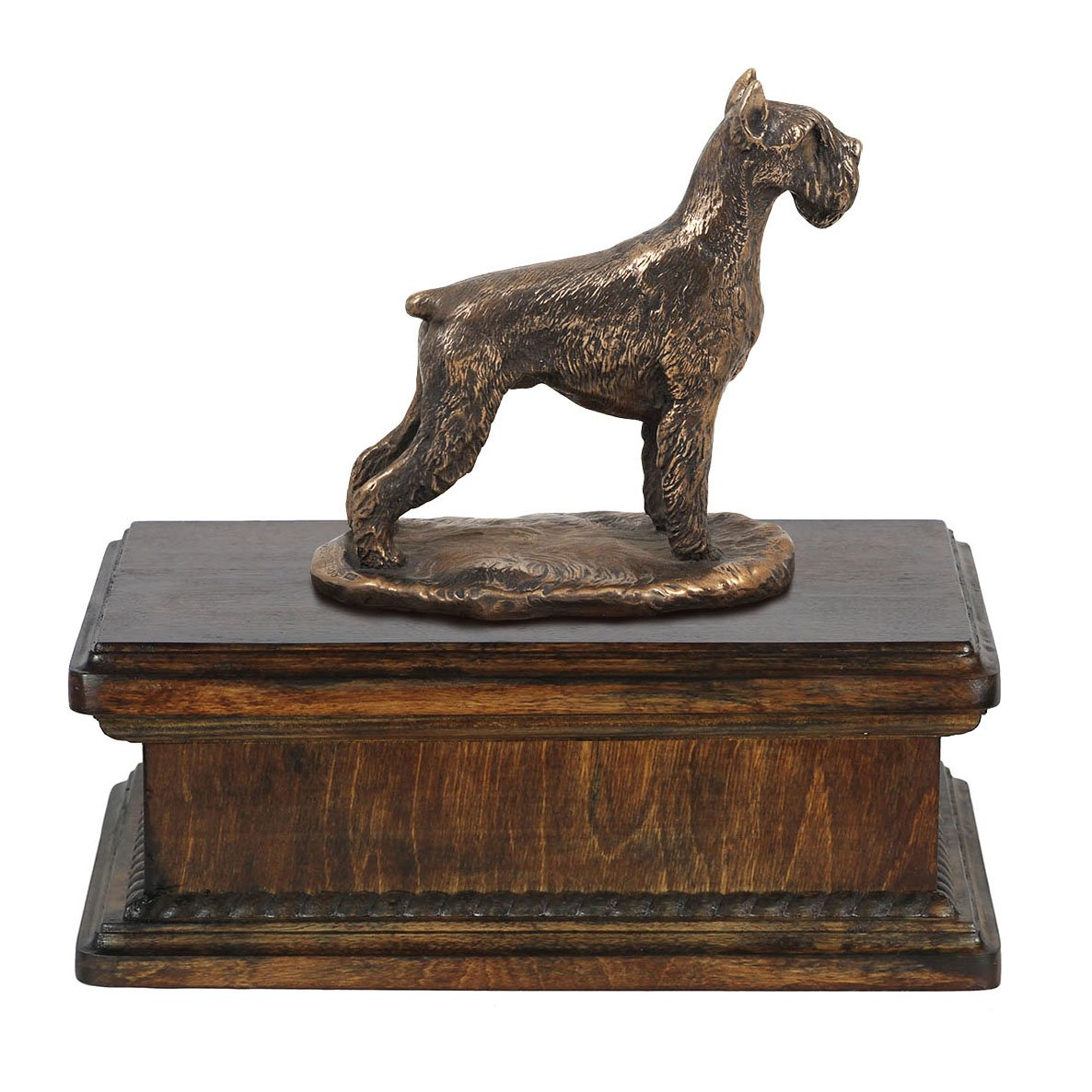 Schnauzer (cropped), memorial, urn for dog's ashes, with dog statue, exclusive, ArtDog