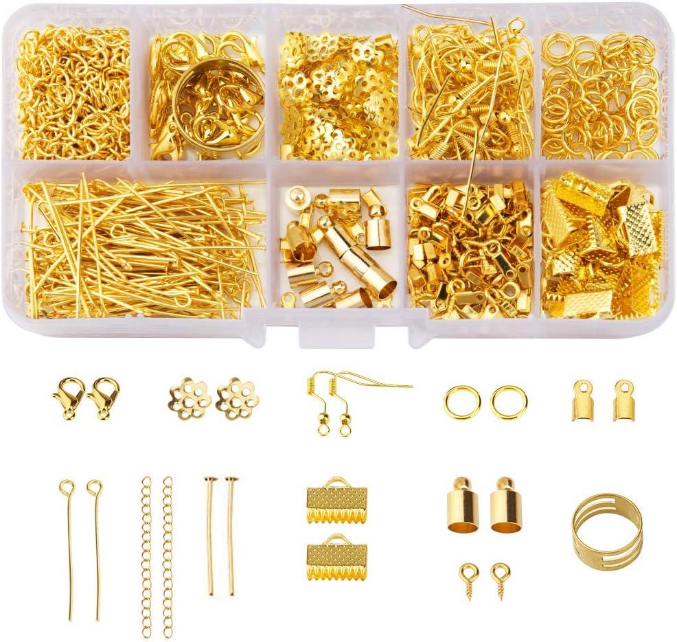 SenPuSi 461 - Juego de joyas para manualidades, con cierre, cadena alargadora, cierre de mosquetón, chapas de sujeción, doradas