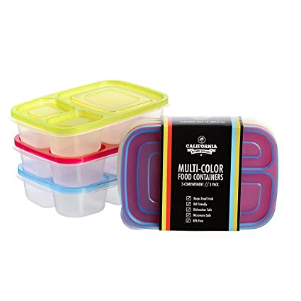 Amazoncom California Home Goods 3 Compartment Reusable Food