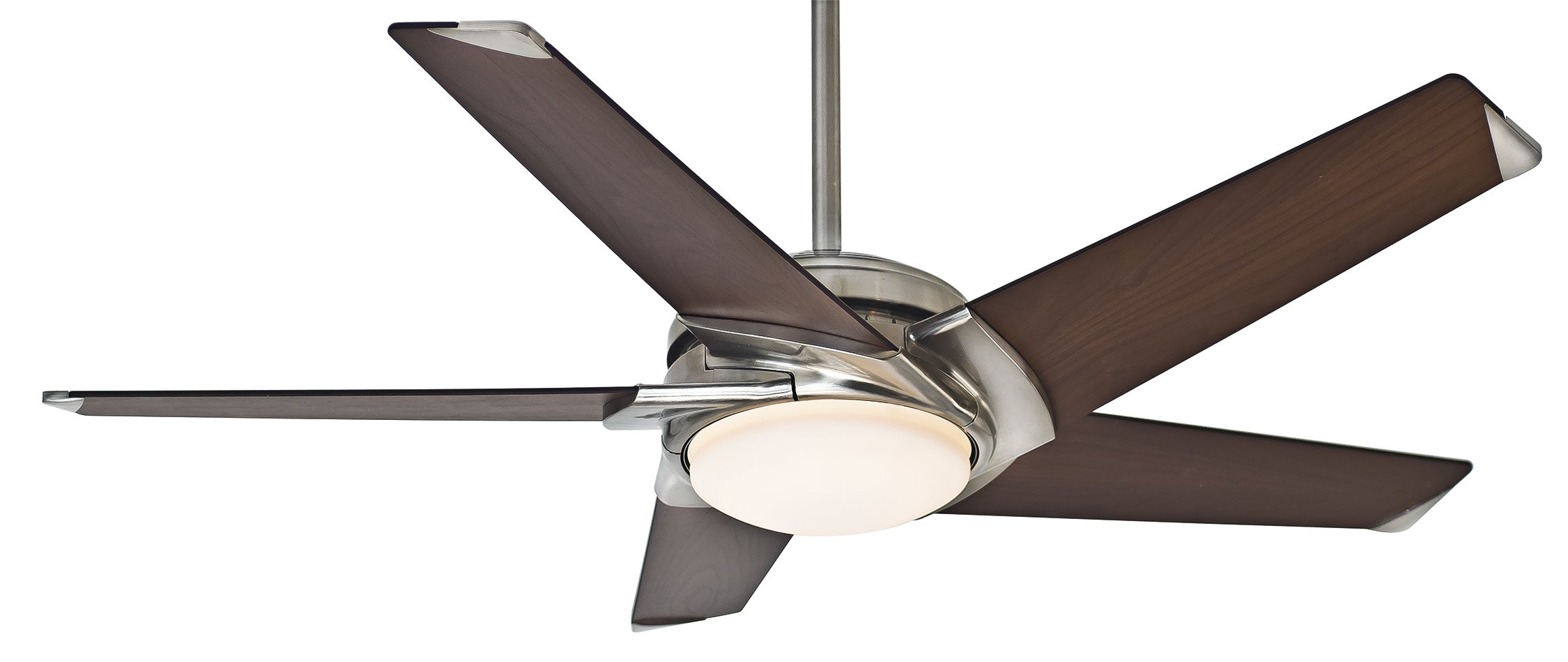 Casablanca Fan Company 59090 Stealth 54-inch Brushed Nickel Ceiling Fan with Dark Walnut Blades and Cased White Glass Light by Casablanca