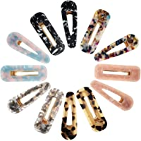 Valys Set of 12 Pcs Marble Pattern Acetate Hair Clip Duckbill Clip-Acrylic Resin Hair Clips Set Fashion Barrettes Leopard Pattern Vintage Hair Accessories Hairpins for Women