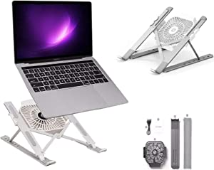 Laptop Stand, Portable Adjustable Aluminum Alloy Notebook Holder for 11-17inch Laptop Tablet Stand with Cooling Fan Stand Holder Cooler for HP DELL Notebook MacBook Air Pro (Silver)
