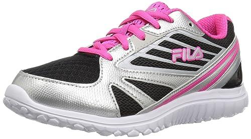 Fila Girls Turbo 2 Skate Shoe, Black/Metallic Silver/Pink Glo, 12