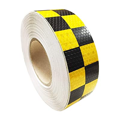"PerfecTech 2""x 118"" Traffic Multi Color Grid Design Conspicuity Reflective Safety Warning Tape Film Stickers Stripe for Truck Car Motorcycle Guardrail Garage (Yellow-Black): Automotive"