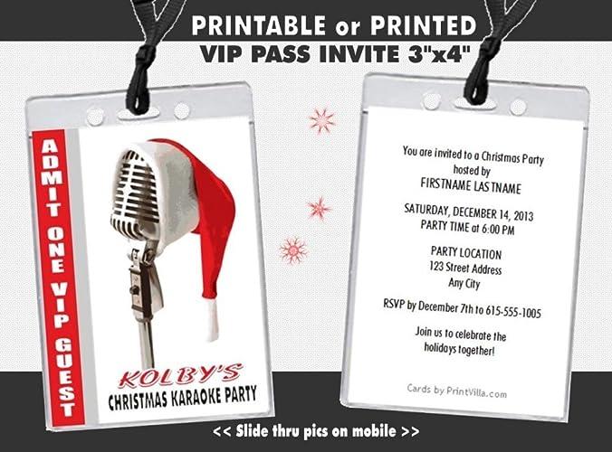 Amazon Com Christmas Karaoke Party Vip Pass Invitation