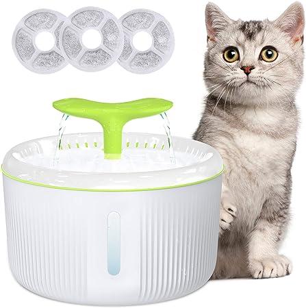 Gifort Fuente de Agua para Gatos, 2L Fuente Bebedero Silencia con 3 Filtros de Carbón Activado, Dispensador de Agua Automático para Mascotas, Perros y Gatos: Amazon.es: Productos para mascotas