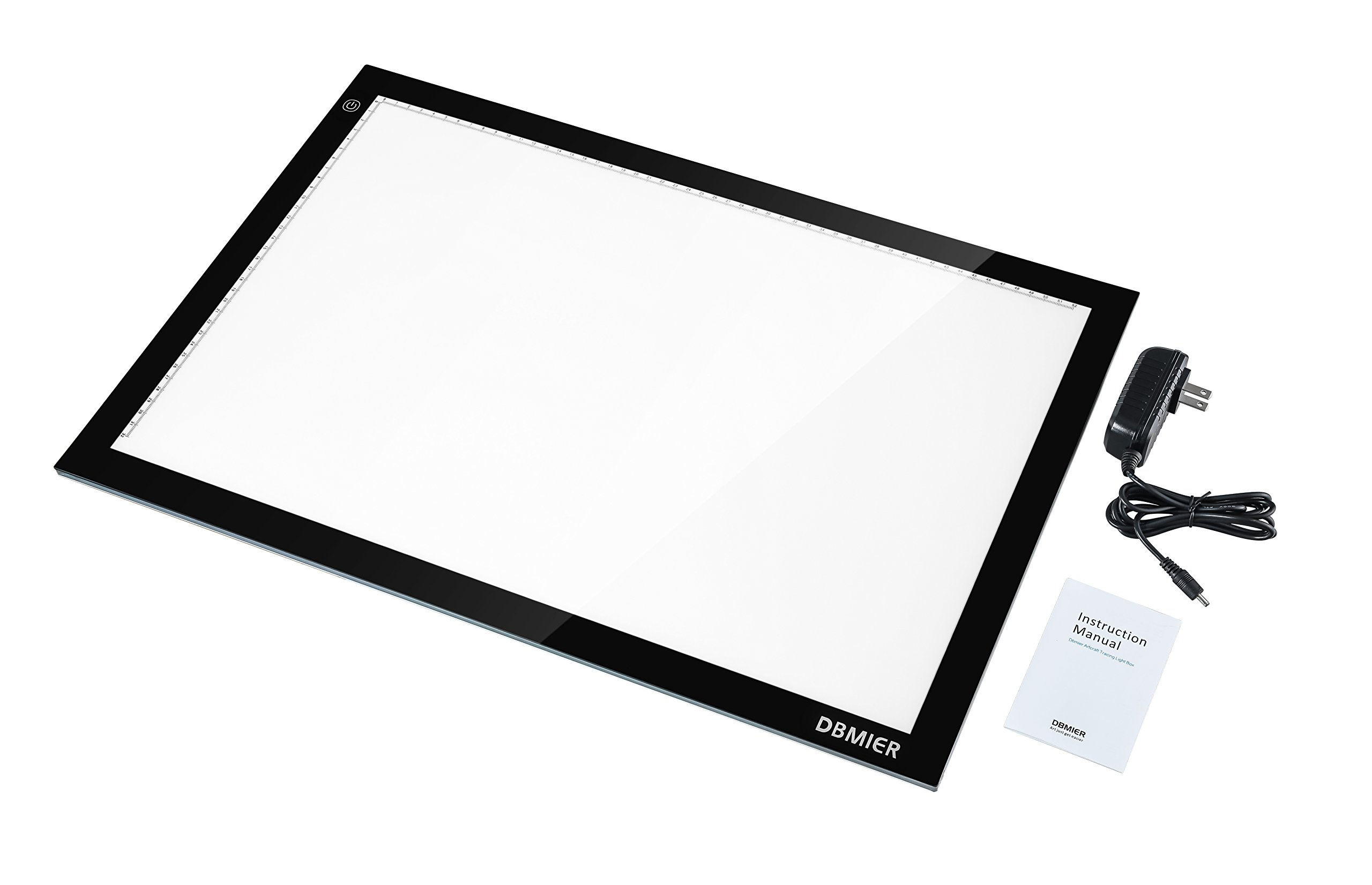 Dbmier A2 LED Ultra-thin Tracing Light Pad Adjustable Light Box - 12.60'' X 20.47'' Ideal for 2D Animation, Calligraphy, Tattoo, Sketching & Drawing, Stained Glass, Quilting, Editing Negatives