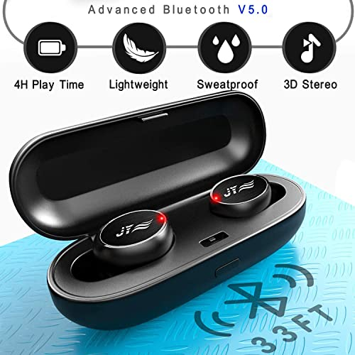 True Wireless Earbuds – Bluetooth Headphones with Charging Case IPX6 Waterproof TWS 16Hr Earphones Stereo Sound HD Deep Bass Sport in-Ear with Built-in Mic Headset Black JYZZ