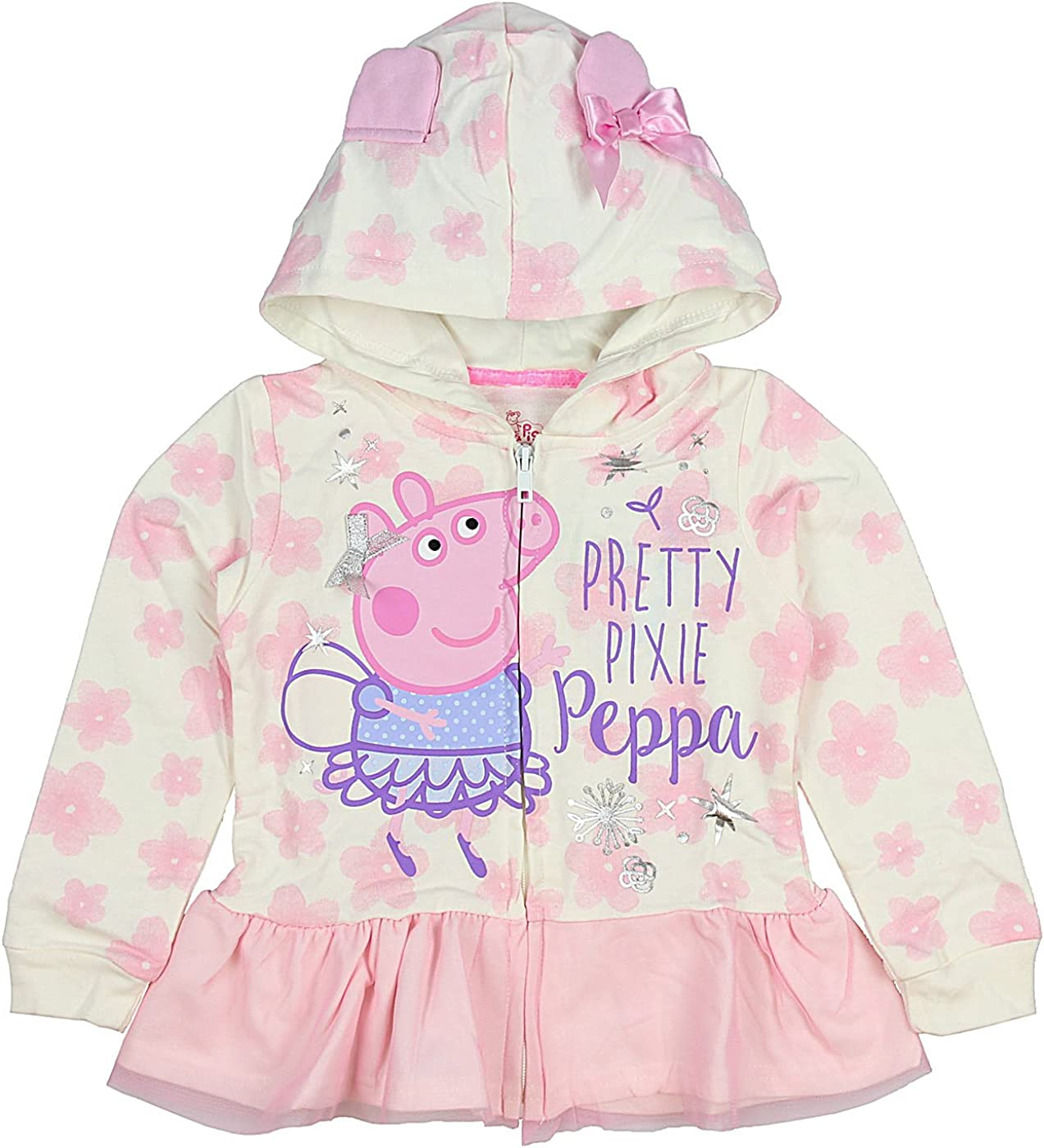 Peppa The Pig Girls Toddler Pretty Pixie Lightweight Pullover Hoodie