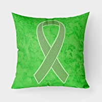 Caroline's Treasures AN1212PW1414 Lime Green Ribbon for Lymphoma Cancer Awareness Canvas Fabric Decorative Pillow, 14Hx14W, Multicolor
