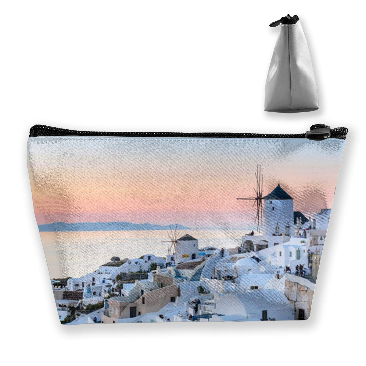 Beautiful Santorini Greece Trapezoid Cosmetic Make-Up Bags Travel Cluth Bag Pouch Case For Women Girls 7X12X22 Cm
