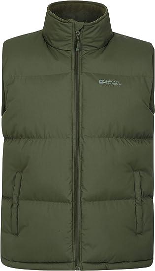 TALLA XS. Mountain Warehouse Chaleco Acolchado Rock para Hombre - Resistente al Agua, Cuello Forrado de vellón, Dobladillo Ajustable, Chaleco cálido y cómodo - Ideal para Uso Diario