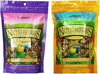 product image for LAFEBER'S Nutri-Berries Parrot Food 2 Flavor Variety Sampler Bundle, (1) Each: Sunny Orchard with Cranberries Apricots Dates, Garden Veggie with Carrots Peas Broccoli (10 Ounces)