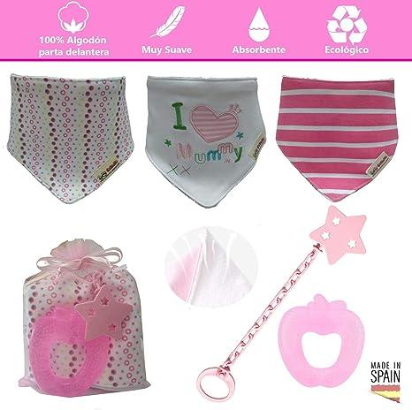 Baberos bandana bebé de algodón suaves y súper absorbentes + 1 mordedor refrigerante + 1 broche
