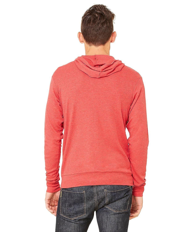 Bella Canvas Adult Unisex Triblend Zip Lightweight Hoodie Red Triblend