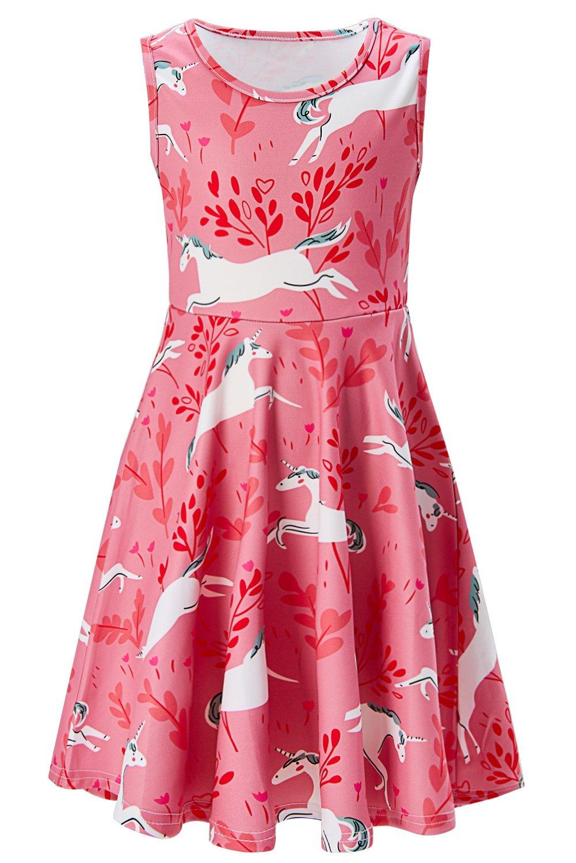 BFUSTYLE 5yrs Old Girl Dress Child Pink Dress School Crewneck Pupil Playwear Dresses 4 (Running Unicorn, 4-5 T)