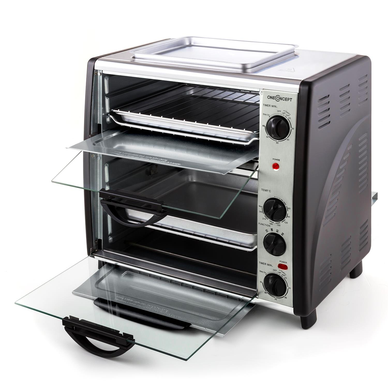 60-240/°C /• 2 x Timer /• Edelstahl /• silber oneConcept All-You-Can-Eat /• Doppel-Backofen /• elektrischer Backofen /• 2 Garr/äume /• 42 L /• 2400 W /• Temperatur