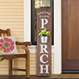"Glitzhome Wooden Welcome Sign for Porch Front Door Rustic Farmhouse Style Hanging Vertical Welcome to Our Porch Sign 42""H Pri"