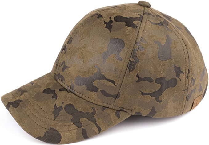 5a4cd490e8c Funky Junque H-40156-711 Camouflage Baseball Cap  Faux Suede at Amazon  Women s Clothing store