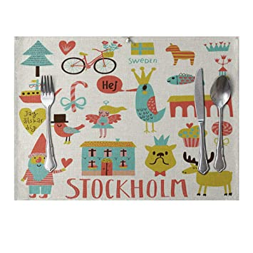 skgardeniamy Cute dibujos animados Juego de toallas de mesa Pad Lino comedor aislamiento Matte Fiesta de cumpleaños Manteles individuales para casa ...