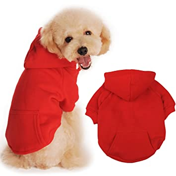 BaoZhang Pet Fleece Hoodies Basic Cotton Sweatshirt with Pocket Puppy Cat Winter