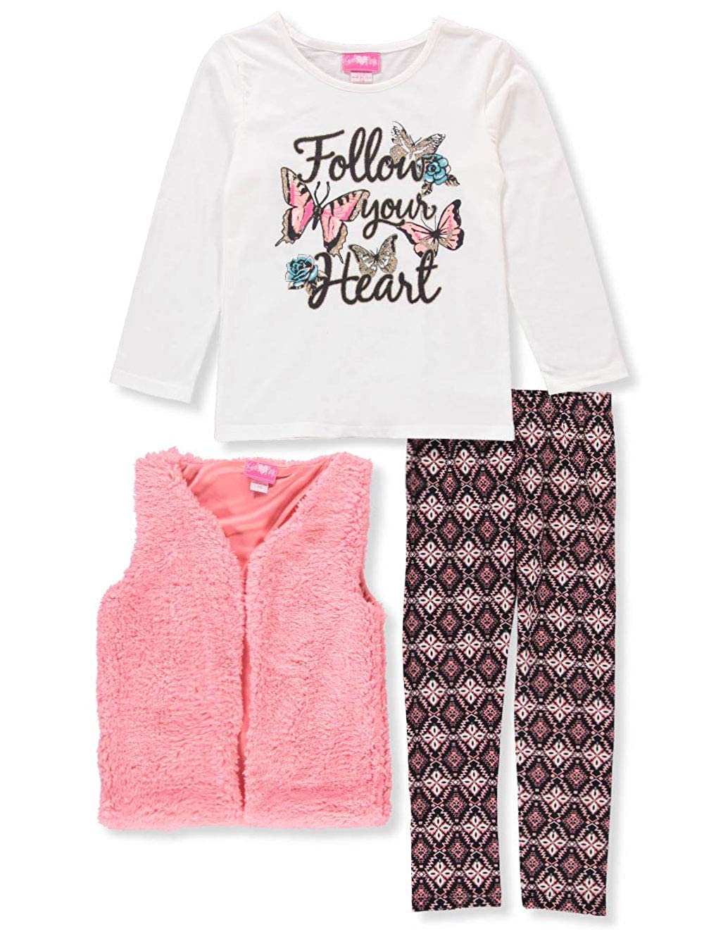Girls Luv Pink Girls' 3-Piece Leggings Set Outfit