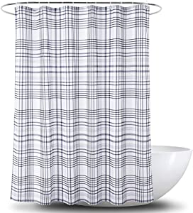 YOSTEV Plaid Grey Bathroom Fabric Shower Curtain with Hooks,Decorative Bathroom Accessories,Water Proof,Reinforced Metal Grommets 72x72 inches