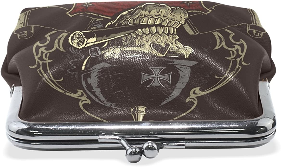 Gothic Punk Skull Coin Purse Mini Leather Hasp Handbag