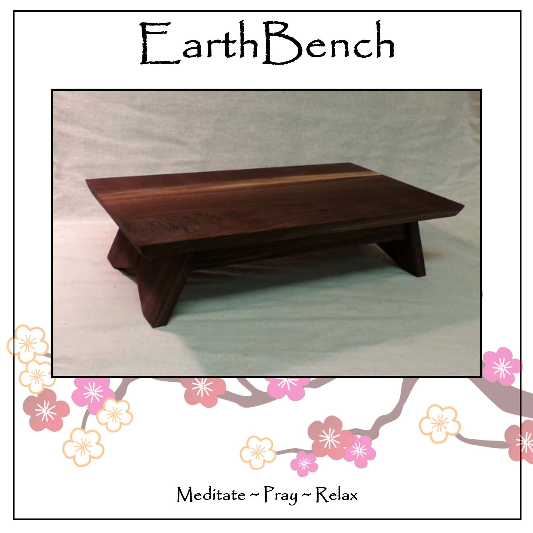 EarthBench Shrine Table - Large-sized Petite Floor Altar (7'' inches tall ~ 23.5'' by 13.5'') - Solid DARK WALNUT Construction. For Meditation, Prayer, or Contemplative Studies.