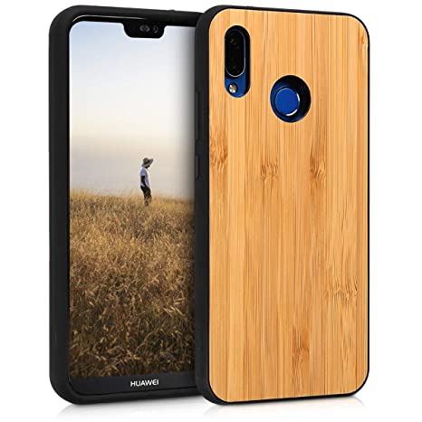 kwmobile Wooden Protective Cover for Huawei P20 Lite - Hard case with TPU Bumper Bamboo in Light Brown