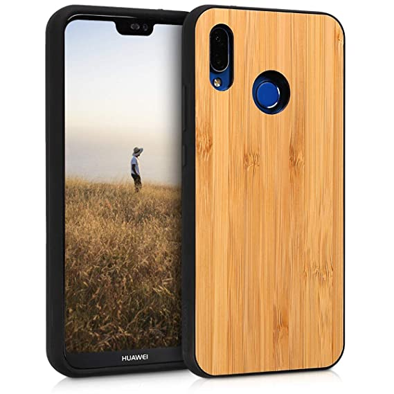 new arrival 49ca1 7357f kwmobile Wooden Protective Cover for Huawei P20 Lite - Hard case with TPU  Bumper Bamboo in Light Brown