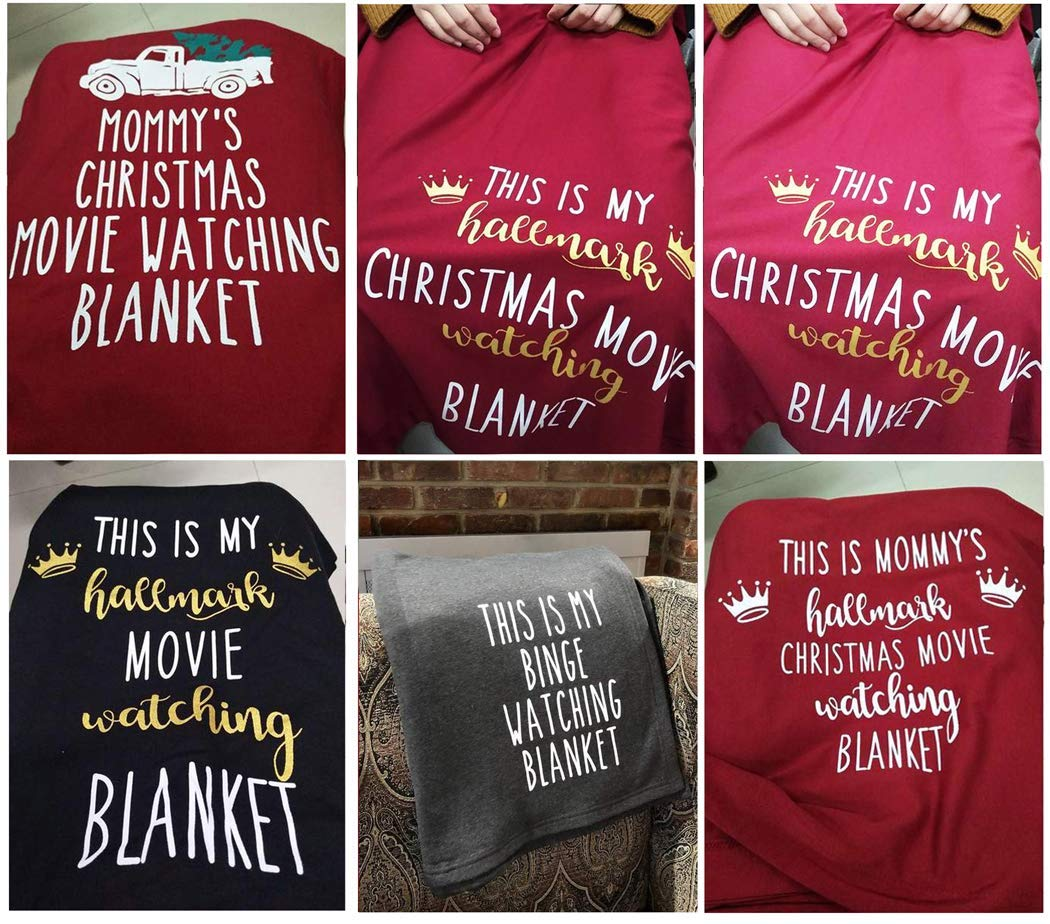 Funny Saying Letter Print Throw Blankets for Bed Couch Decorative Sofa Chair Cover Lazy Blanket-Black This is My Hallmark Movie Channel Watching Blanket