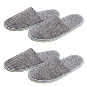 Holibanna 2 Pair Disposable Slippers Portable Grey Slippers Guest Room Slippers Home House Footwear for Women Men