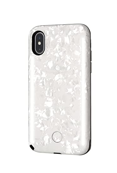 info for 54524 cbf7b LuMee Duo Selfie Phone Case, Pearl White | Front & Back LED Lighting,  Variable Dimmer | Shock Absorption, Bumper Case | iPhone X / iPhone XS - ...
