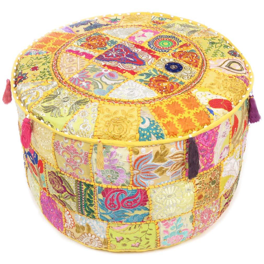Eyes of India - 22 X 12 Yellow Round Pouf Pouffe Ottoman Pouf Cover Floor Seating Bohemian Boho Indian
